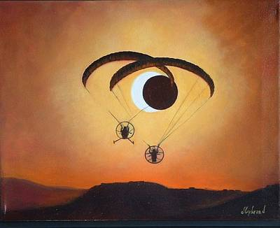Solar Eclipse Painting - Flying The Solar Eclipse 2012 by Judy Lybrand