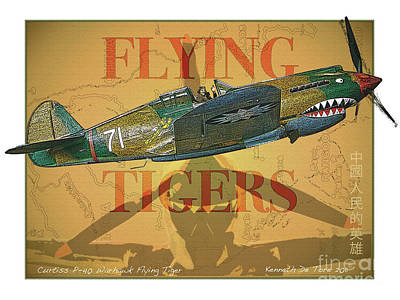 Flying Tigers Art Print by Kenneth De Tore