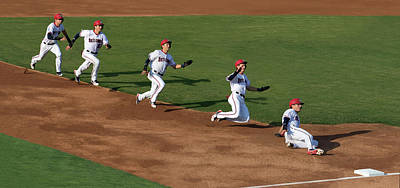 Photograph - Flying To Third by Art Cole