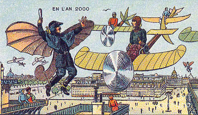 Flying Traffic Control, 1900s French Art Print