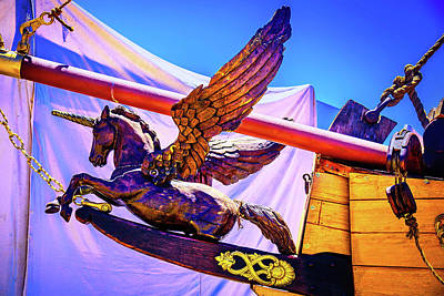 Photograph - Flying Unicorn Figurehead by Garry Gay