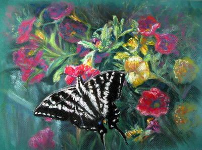Zebra Swallowtail Painting - Flying Zebra by Shirley Leswick