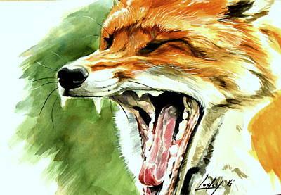 Kit Fox Painting - Flynn The Fox by Katharine Schafer