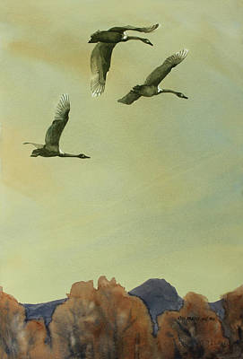 Rare Bird Painting - Flyover by Kris Parins