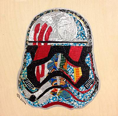 Tapestry - Textile - Storm Trooper Fn-2187 Helmet Star Wars Awakens Afrofuturist Collection by Apanaki Temitayo M
