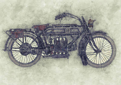 Mixed Media Royalty Free Images - FN Four 1 - Fabrique Nationale - 1905 - Motorcycle Poster - Automotive Art Royalty-Free Image by Studio Grafiikka