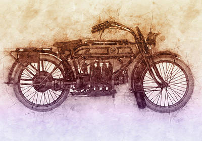 Royalty-Free and Rights-Managed Images - FN Four 2 - Fabrique Nationale - 1905 - Motorcycle Poster - Automotive Art by Studio Grafiikka