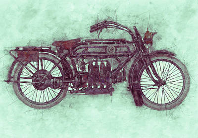 Royalty-Free and Rights-Managed Images - FN Four 3 - Fabrique Nationale - 1905 - Motorcycle Poster - Automotive Art by Studio Grafiikka