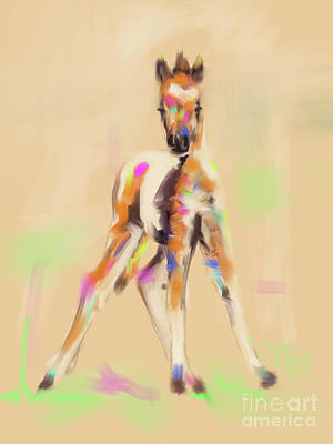Painting - Foal Cute Fellow by Go Van Kampen