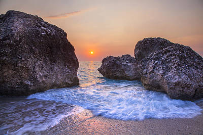 Lefkada Photograph - Foamy Water Sunset Greece by Sandra Rugina