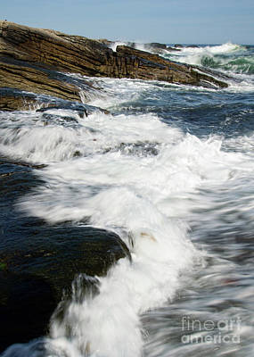 Photograph - Foamy Waves, Ocean Point, East Boothbay, Maine  -12958 by John Bald