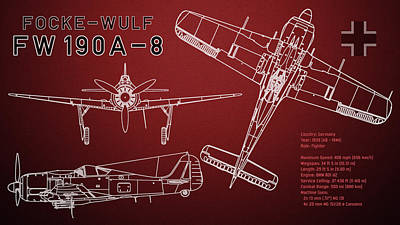 Airplane Digital Art - Focke-wulf Fw 190 A-8 Blueprint by Jose Elias - Sofia Pereira