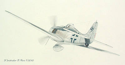 Fw 190 Drawing - Focke Wulf Fw 190 Color Study by Christopher Rios
