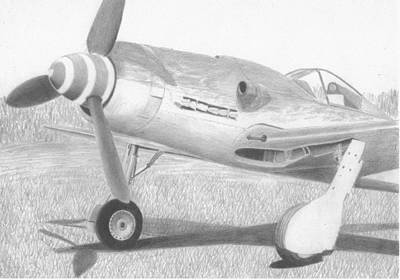 Fw 190 Drawing - Focke Wulf Fw-190 D-9 Military Art Print by Stephen Rooks