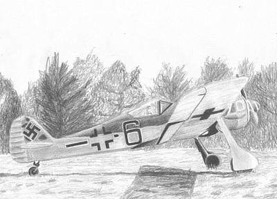 Fw 190 Drawing - Focke Wulf Fw-190 Military Aircraft Art Print by Stephen Rooks