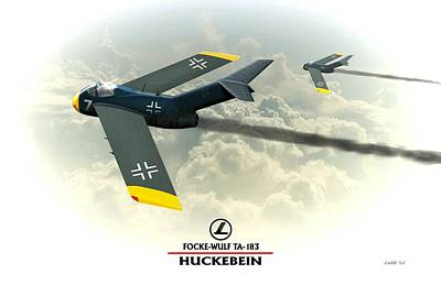 Digital Art - Focke Wulf Ta-183 Huckebein Ww2 German by John Wills