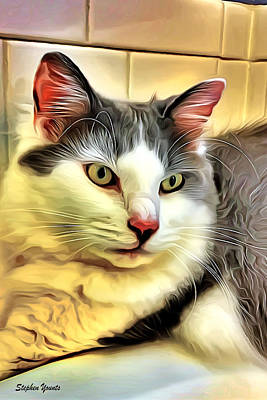 Digital Art - Focused Feline by Stephen Younts