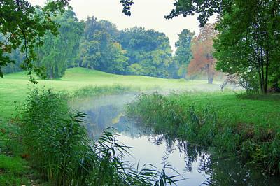 Fog Along A Creek In Autumn Art Print