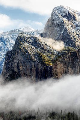 Cathedral Rock Photograph - Fog And Bridalveil Falls Yosemite National Park by Troy Montemayor
