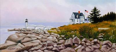 New England Lighthouse Painting - Fog Bank, Marshall Point, Maine by John McAllister