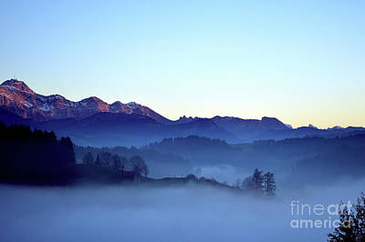 Photograph - Fog Creeps Up The Valley - Switzerland by Susanne Van Hulst
