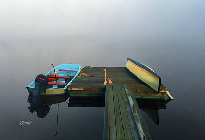 Fog Moves Out From The Deck Print by Garland Johnson