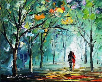 Fog Of Love - Palette Knife Oil Painting On Canvas By Leonid Afremov Art Print by Leonid Afremov