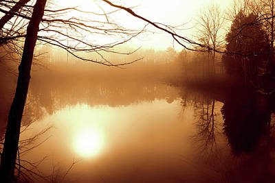 Fog On Shelly Lake - 2 Art Print by Alan Hausenflock