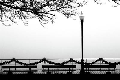Photograph - Fog On The Boardwalk 2 Bw by Mary Bedy