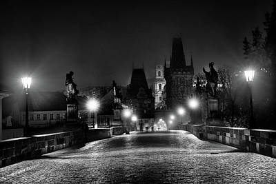 Photograph - Fog On The Charles Bridge #2 - Prague by Stuart Litoff