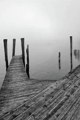 Photograph - Fog On The River 26 Bw by Mary Bedy