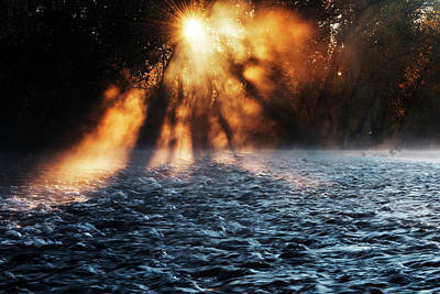 Photograph - Fog Rising Along Boise River On Autumn Morning by Vishwanath Bhat