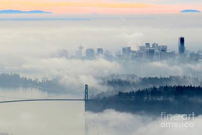 Photograph - Fog-shrouded Vancouver by Frank Townsley