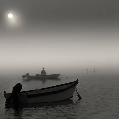 Fog Surfers Black And White Seascape Original by Dapixara Art