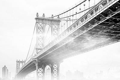 Bridge Photograph - Fog Under The Manhattan Bw by Az Jackson