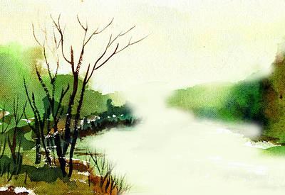 Anil Nene Painting - Fog1 by Anil Nene
