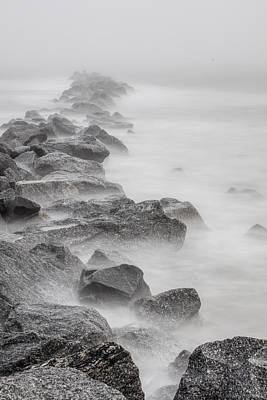 Photograph - Foggy Atlantic Ocean Rocks  by John McGraw