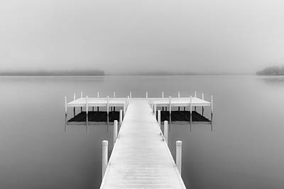 Photograph - Foggy August Lake B/w by Greg Jackson