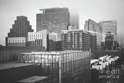 Foggy Austin Skyline Black And White Picture Art Print by Paul Velgos