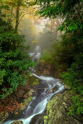 Foggy Autumn Cascades Art Print