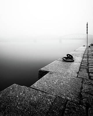 Photograph - Foggy Autumn Mood At Vltava River. Detail Of Riverbank. Black And White Atmosphere, Prague, Czech Republic by Marek Kijevsky