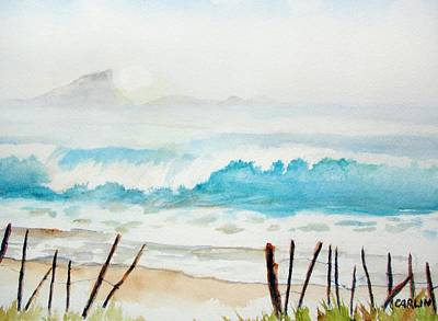 Painting - Foggy Beach by Carlin Blahnik CarlinArtWatercolor