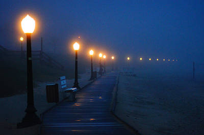 Foggy Boardwalk Blues Art Print by Bill Pevlor