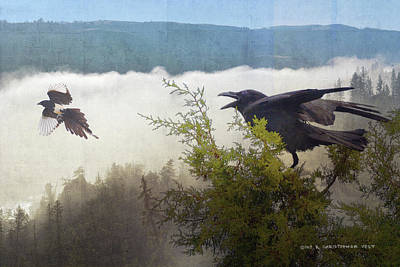 Magpies Digital Art - Foggy Canyon Altercation by R christopher Vest