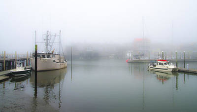 Seascape Photograph - Foggy Cape May Harbor by Bill Cannon
