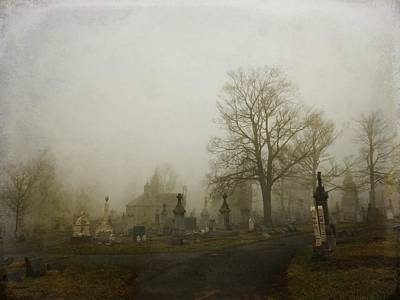 Graveyard Road Photograph - Foggy Churchyard   by Gothicrow Images