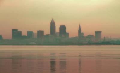 Downtown Cleveland Photograph - Foggy Cleveland Skyline At Sunrise by Dan Sproul