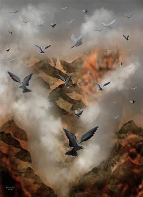 Digital Art - Foggy Cliff Side by Artful Oasis