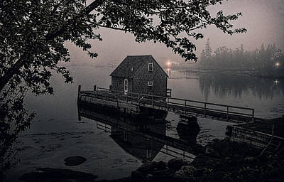 Foggy Cove And Shanty Art Print by Marty Saccone