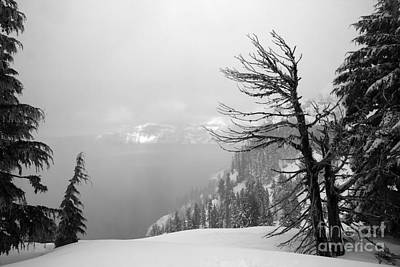 Photograph - Foggy Crater Black And White by Adam Jewell